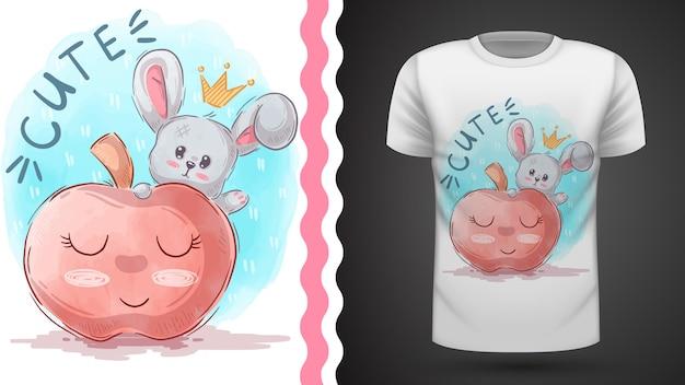 Apfel und hase, idee für print-t-shirt