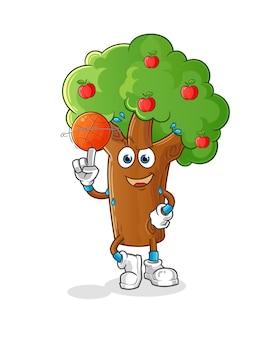 Apfelbaum, der basketballmaskottchen spielt. karikatur