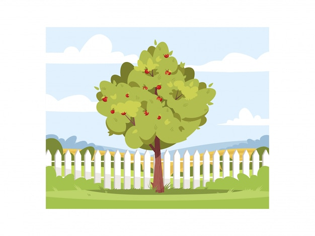 Apfelbaum in der halbillustration des hinterhofs