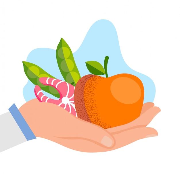 Apfelfischsteak und erbsen in palme. gesundes essen.