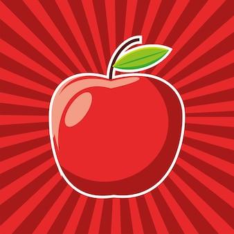 Apfelfrucht frischer sunburst-hintergrund