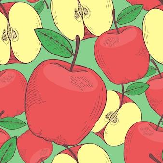 Apfelfrucht handgezeichnete vektor-illustration nahtlose muster