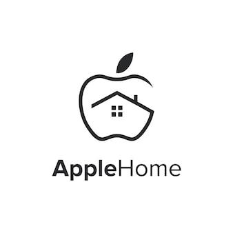 Apfelfrüchte und hausumriss einfaches schlankes kreatives geometrisches modernes logo-design