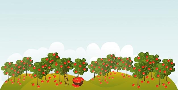 Apfelgarten mit illustration des leeren raumes
