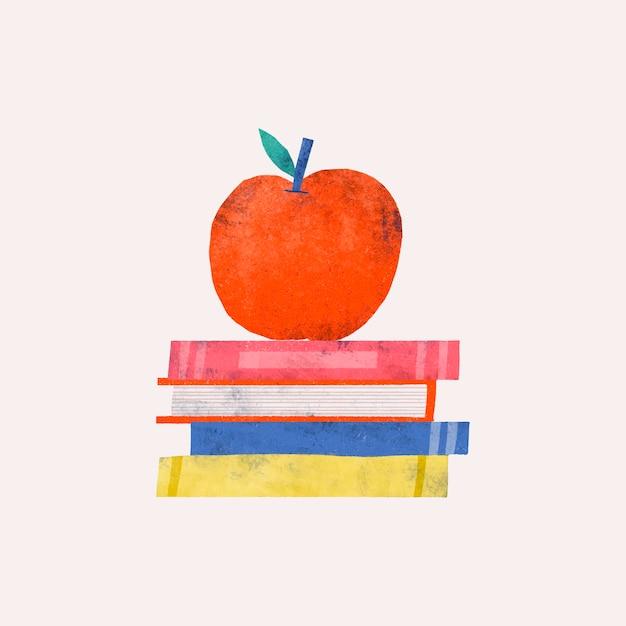 Apfelgekritzel auf einem stapel büchern