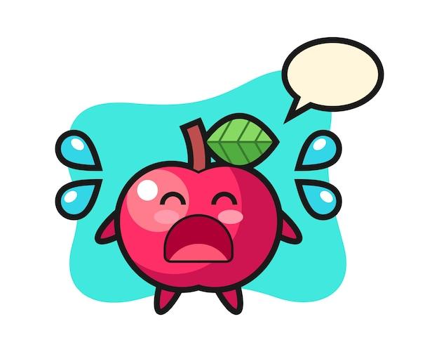 Apfelkarikaturillustration mit weinender geste