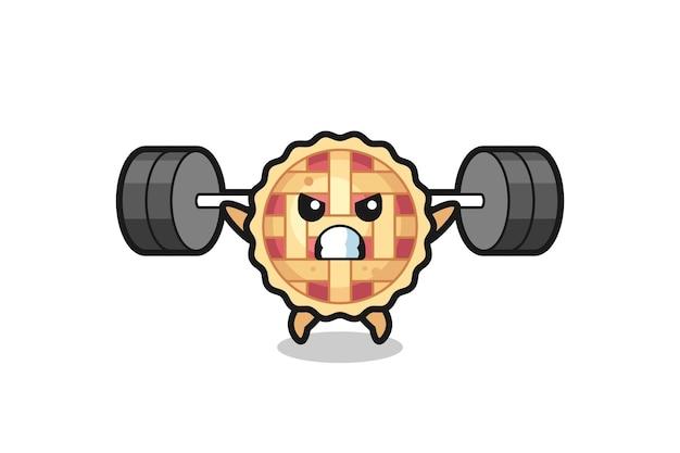 Apfelkuchen-maskottchen-cartoon mit einer langhantel, süßes design für t-shirt, aufkleber, logo-element