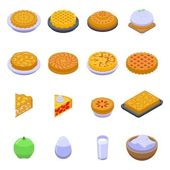 Apfelkuchensymbole eingestellt. isometrischer satz von apfelkuchensymbolen für web lokalisiert auf weißem hintergrund