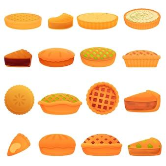 Apfelkuchensymbole eingestellt. karikatursatz von apfelkuchenikonen für web
