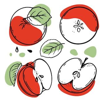 Apfelskizzen mit roten und grünen farbspritzern auf weißem hintergrund