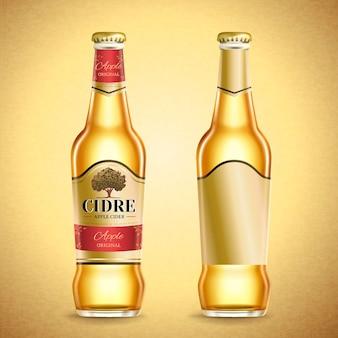 Apfelwein-verpackungsdesign, fruchtbier mit etikett in der 3d-illustration auf goldenem farbhintergrund
