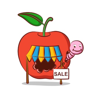 Apfelwurmladen mit verkauf in seinem apfelhaus