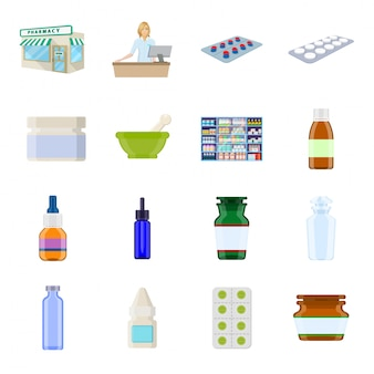 Apotheke-cartoon-icon-set