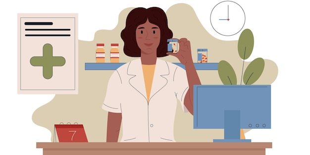 Apotheke geschäftsmedizin beratung medizinische behandlungcartoon-vektor-illustration