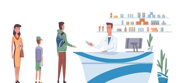 Apotheke mit apotheker hinter theke und menschen, die medikamente kaufen. warteschlange von verschiedenen leuten, die kamen, um pille zu kaufen. drogerie-cartoon-vektor-illustration.