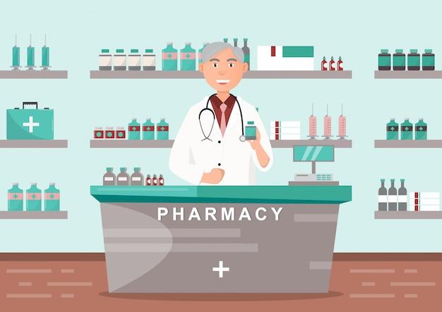 Apotheke mit dem doktor in der theke. drogerie-zeichentrickfigurendesign