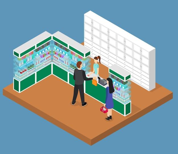 Apotheke shop interior isometrische ansicht drogerie mit pille, möbel und menschen health care konzept. Premium Vektoren