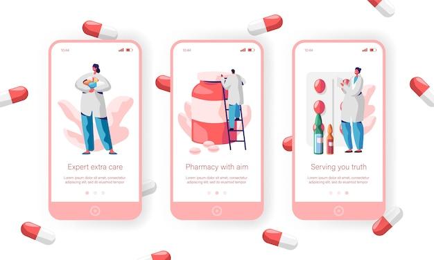 Apotheke store sale pills mobile app seite onboard screen set. apothekerpflege über gesundheit für website oder webseite. medical drugstore expert medicament. flache karikatur-vektor-illustration