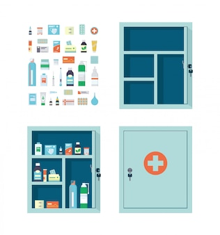 Apotheke voller drogen, pillen und flaschen. leerer offener und geschlossener medizinischer metallschrank.