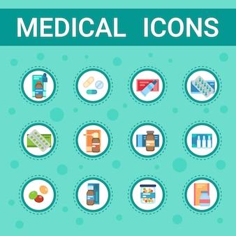 Apotheken-ikonen-pillen stellten medizinische gesundheitspflege-kliniken-krankenhaus-service-medizin-drogen-sammlung ein
