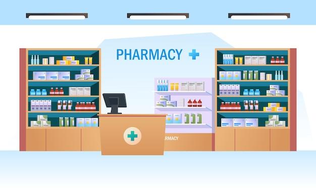 Apothekeninnenraum mit zähler und droge auf regalenillustration