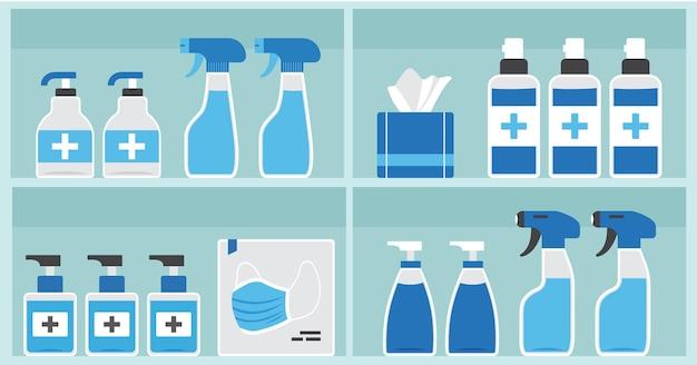 Apothekenregal, medizinische flaschen und behälter für arzneimittelverpackungen Premium Vektoren