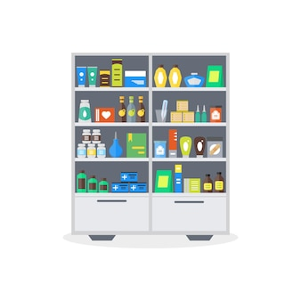 Apothekenvitrine oder ladenregale. lagerung und verkauf von medikamenten, tabletten pillen flaschen flat style.