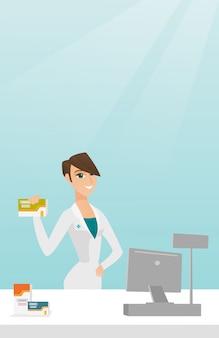 Apotheker, der etwas medizin zeigt.