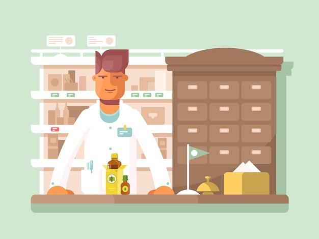 Apotheker in der apotheke. drogerie-shop, medikamente und hilfe. vektor-illustration