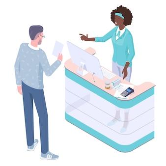 Apotheker und patient in der drogerie.