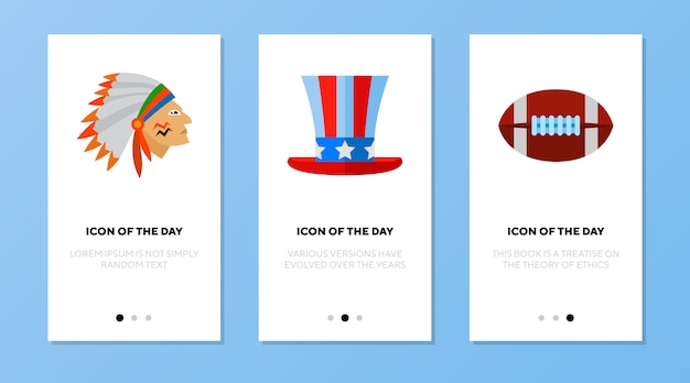 App-bildschirm mit amerikanischen symbolen gesetzt