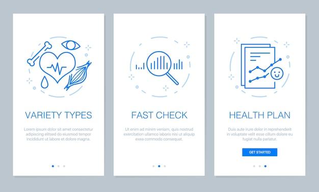 App-bildschirme für gesundheit und medizinische onboarding.