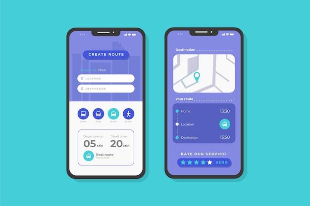 App-bildschirme für öffentliche verkehrsmittel