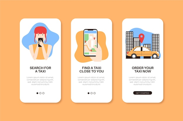 App-bildschirme für taxiservice