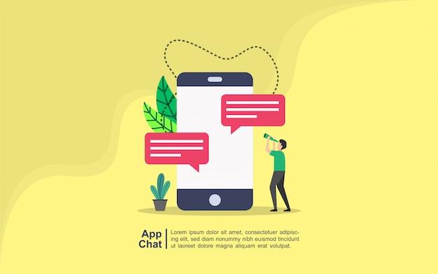 App-chatkonzept mit leutecharakter