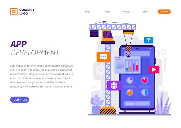 App-entwicklung auf smartphone-landingpage-vorlage