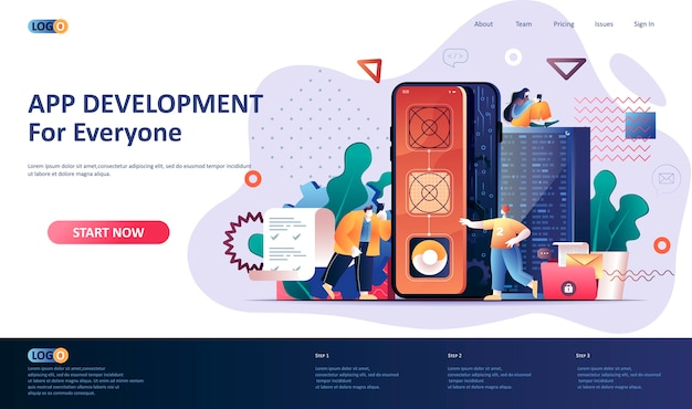 App entwicklung landing page template illustration