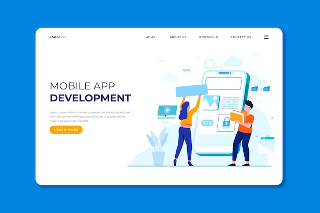 App-entwicklung - landing page Kostenlosen Vektoren