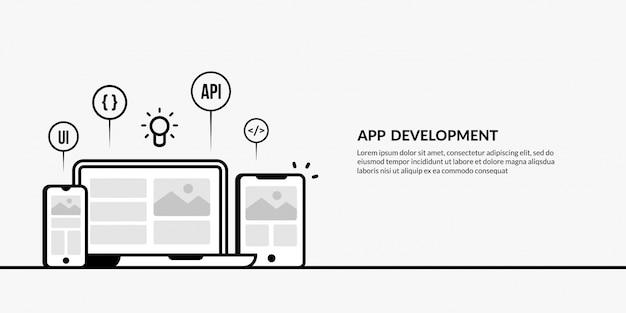 App-entwicklung mit gliederungselement auf gelb