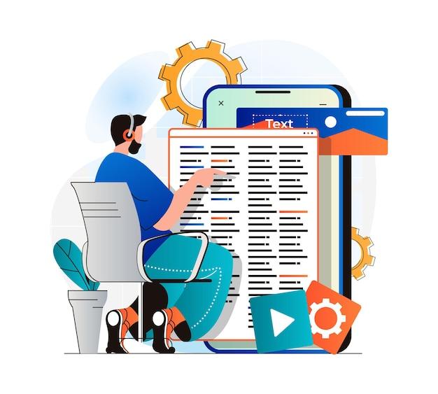 App-entwicklungskonzept in modernem, flachem design mann-entwickler-codierungscode-ui-layout-design