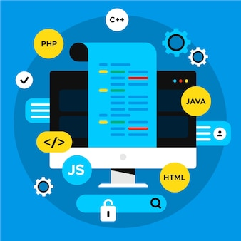App-entwicklungskonzept mit desktop- und codierungssprachen