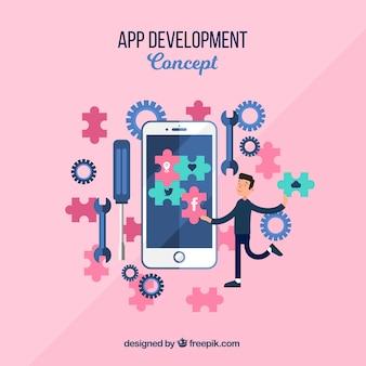 App-entwicklungskonzept mit flachem deisng