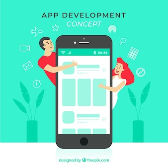 App-entwicklungskonzept mit flachem design