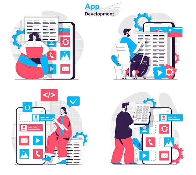 App-entwicklungskonzept-set entwickler schreiben code testen seitenlayout erstellen
