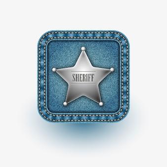 App-ikone mit stern des sheriffs