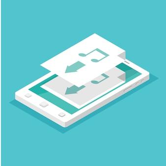 App-konzept herunterladen. smartphone isometrisch.