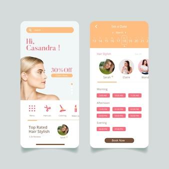 App-oberfläche für die buchung von schönheitssalons
