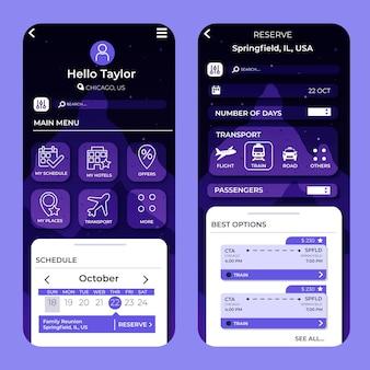 App-oberfläche für reisebuchungen