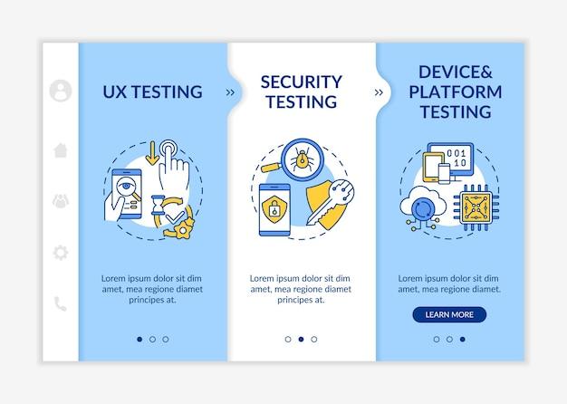 App-testkomponenten auf boarding-vorlage. testen der benutzererfahrung.