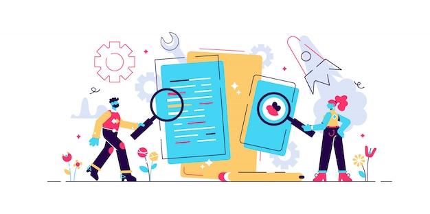App-tests, entwicklungsprozess für mobile anwendungen, prototyping von software-apis, erfahrene team-illustration, grafikdesign, erstellung mobiler apps, codierung, programmierung. seo. suche